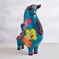 Resin figurine, 'Garden Bull' - Green-Blue and Colorful Floral Motif Resin Bull Figurine