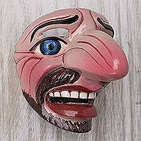 Resin mini mask, 'Festival Goer' - Colorful Resin Character Mini  Mask From Dance Majeño