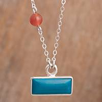 Chrysocolla and agate pendant necklace, 'Sweet Encounter' - Chrysocolla and Agate Pendant Necklace from Peru
