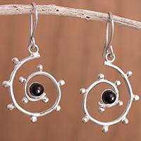 Onyx dangle earrings, 'Black Astral' - Spiral Motif Onyx Dangle Earrings from Peru