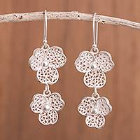 Sterling silver filigree dangle earrings, 'Gleaming Clover' - Sterling Silver Filigree Clover Earrings from Peru