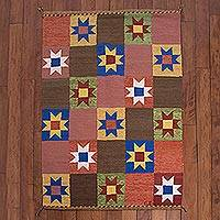 Wool area rug, 'Sky of Stars' (4x6) - Square Motif Wool Area Rug from Peru (4x6)
