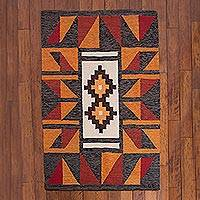 Wool area rug, 'Chakana World' (4x4.5) - Earthtone Wool Area Rug from Peru (4x4.5)