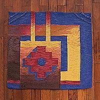 Wool area rug, 'Mystical Chakana' (3.75x3.75) - Geometric Wool Area Rug from Peru (3.75x3.75)