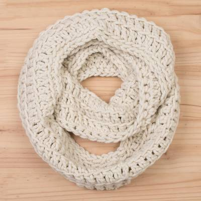 Hand Crocheted Wool Antique White Infinity Scarf From Peru Antique