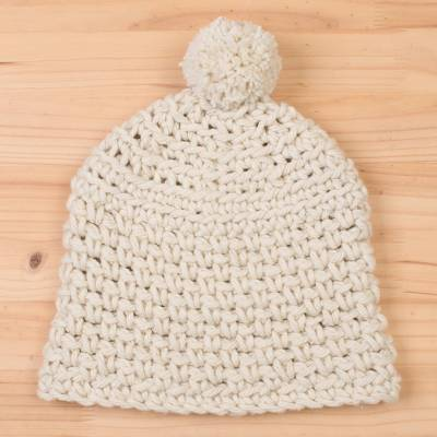 Wool hat, 'Antique White Winter' - Hand-Crocheted Wool Hat in Antique White from Peru