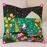 Cotton blend cushion cover, 'Path to Bethlehem' - Christian-Themed Cotton Blend Arpillera Cushion Cover