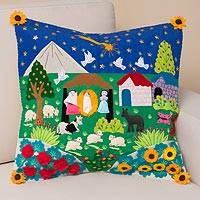 Cotton blend cushion cover, 'Portal to the Andes' - Cotton Blend Arpillera Cushion Cover from Peru