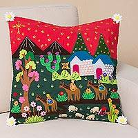 Cotton blend cushion cover, 'Three Wise Men' - Christian Cotton Blend Arpillera Cushion Cover from Peru