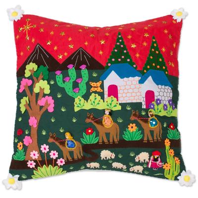 Christian Cotton Blend Arpillera Cushion Cover from Peru