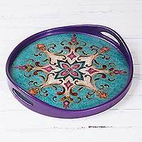 Reverse-painted glass tray, 'Fantastical Star' - Blue and Purple Reverse-Painted Glass Tray from Peru