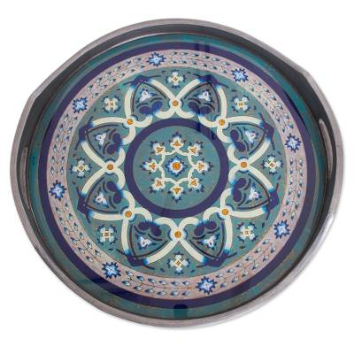 Steel-Tone Reverse-Painted Glass Tray from Peru
