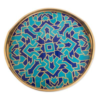 Reverse-painted glass tray, 'Blue Illusion' - Reverse-Painted Glass Tray in Blue from Peru