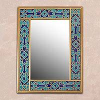 Reverse painted glass mirror, 'Blue Fascination' - Reverse Painted Glass Wall Mirror in Blue from Peru