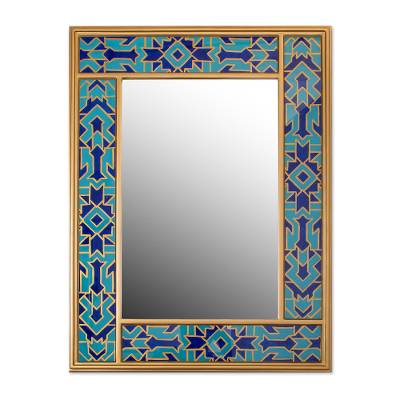 Reverse-painted glass mirror, 'Blue Fascination' - Reverse-Painted Glass Wall Mirror in Blue from Peru