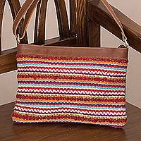 Leather accent cotton blend shoulder bag, 'Desert Dawn' - Striped Handwoven Cotton Blend and Leather Shoulder Bag