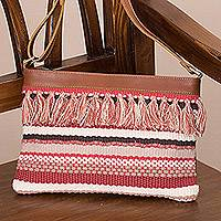 Leather accent cotton blend shoulder bag, 'Breeze on the Mesa' - Fringed Handwoven Cotton Blend and Leather Shoulder Bag