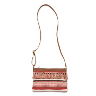 Fringed Handwoven Cotton Blend and Leather Shoulder Bag