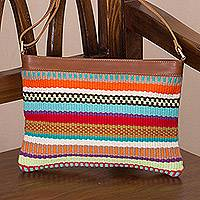 Leather accent cotton blend shoulder bag, 'Andean Spirit' - Colorful Handwoven Cotton Blend and Leather Shoulder Bag