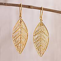 Gold plated sterling silver filigree dangle earrings, 'Mystery of the Forest' - 24k Gold Plated Sterling Silver Filigree Dangle Earrings
