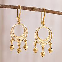 Gold plated sterling silver filigree chandelier earrings, 'Glittering Dreamcatchers' - Gold Plated Sterling Silver Filigree Chandelier Earrings