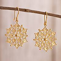 Gold plated sterling silver filigree dangle earrings, 'Gleaming Mandalas' - 24k Gold Plated Sterling Silver Filigree Dangle Earrings