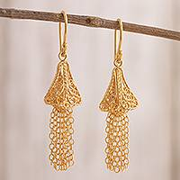 Gold plated sterling silver filigree waterfall earrings, 'Golden Dancing Bells' - 24k Gold Plated Sterling Silver Waterfall Earrings from Peru