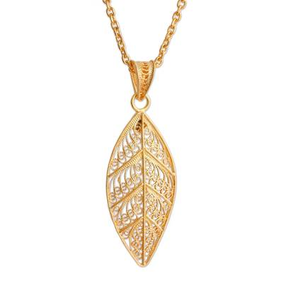 Gold plated sterling silver filigree pendant necklace, 'Mystery of the Forest' - 24k Gold Plated Sterling Silver Leaf Pendant Necklace
