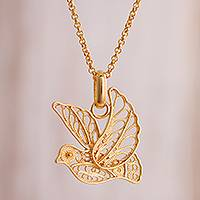 Gold plated sterling silver filigree pendant necklace, 'Peace and Grace' - Gold Plated Sterling Silver Filigree Dove Necklace from Peru
