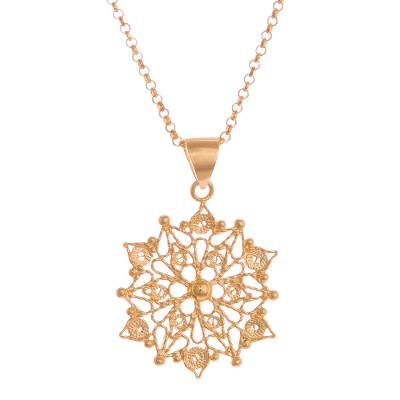 Gold plated sterling silver filigree pendant necklace, 'Gleaming Mandala' - 24k Gold Plated Sterling Silver Filigree Mandala Necklace