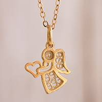 Gold plated sterling silver filigree pendant necklace, 'Love and Grace'