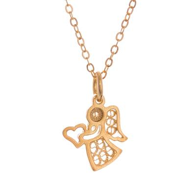 Gold plated sterling silver filigree pendant necklace, 'Love and Grace' - 24k Gold Plated Sterling Silver Filigree Angel Necklace