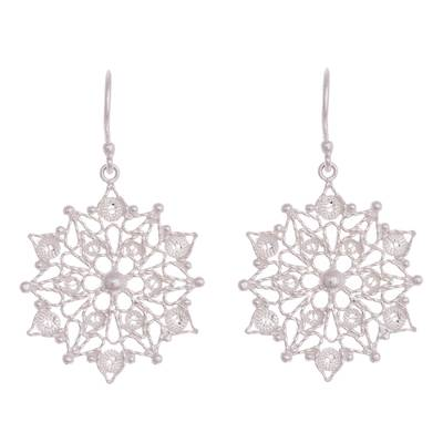 Sterling silver filigree dangle earrings, 'Gleaming Mandalas' - Sterling Silver Filigree Mandala Dangle Earrings from Peru