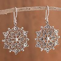 Sterling silver filigree dangle earrings, 'Dark Mandalas' - Dark Sterling Silver Filigree Mandala Earrings from Peru