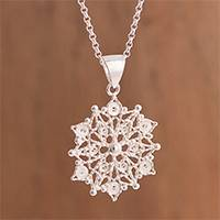 Sterling silver filigree pendant necklace, 'Gleaming Mandala' - Sterling Silver Filigree Mandala Pendant Necklace from Peru