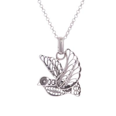 Sterling silver filigree pendant necklace, 'Dark Peace and Grace' - Oxidized Sterling Silver Filigree Dove Necklace from Peru