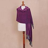 Alpaca blend shawl, 'Artisanal Majesty' - Handwoven Alpaca Blend Shawl in Purple from Peru