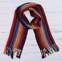 100% alpaca scarf, 'Andean Rainbow' - Rainbow 100% Alpaca Striped Scarf from Peru