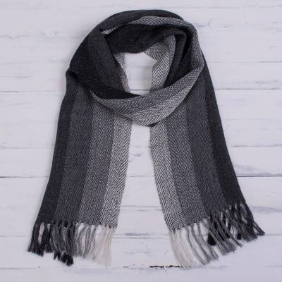 100% alpaca scarf, 'Andean Ombre in Grey' - Striped 100% Alpaca Scarf in Grey from Peru