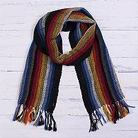 100% alpaca scarf, 'Dark Andean Rainbow' - Dark Rainbow 100% Alpaca Striped Scarf from Peru