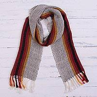100% alpaca scarf, 'Grey Passion' - Handwoven 100% Alpaca Scarf in Grey from Peru
