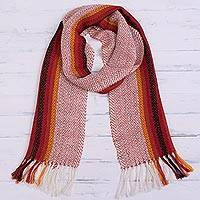 100% alpaca scarf, 'Pink Passion' - Handwoven 100% Alpaca Scarf in Pink from Peru