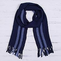 100% alpaca scarf, 'Navy Glamour' - Handwoven 100% Alpaca Scarf in Navy from Peru