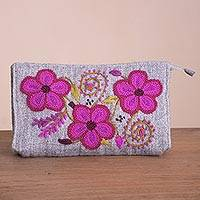 Alpaca blend coin purse, 'Lovely Flowers in Fuchsia' - Handwoven Floral Alpaca Blend Coin Purse in Fuchsia
