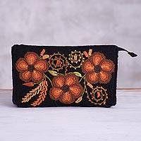 Alpaca blend coin purse, 'Lovely Flowers in Orange' - Handwoven Floral Alpaca Blend Coin Purse in Orange