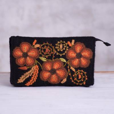 Alpaca blend clutch, 'Lovely Flowers in Orange' - Handwoven Floral Alpaca Blend Clutch in Orange