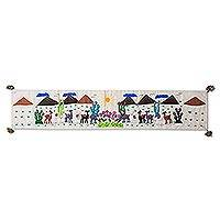 Cotton table runner, 'Vicuña Landscape' - Animal-Themed Cotton Arpillera Table Runner from Peru