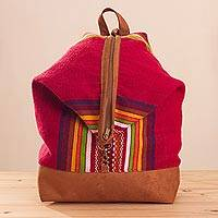 Leather accent alpaca blend backpack, 'Cuzco Travels' - Leather Accent Alpaca Blend Backpack from Peru