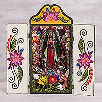 Ceramic and wood retablo, 'Guadalupe' - Ceramic and Wood Retablo of Mother Mary from Peru