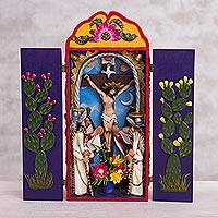 Ceramic and wood retablo, 'Lord of Miracles' - Ceramic and Wood Crucifix Retablo from Peru